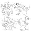 set funny dinosaurs vector image vector image