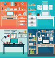 set of modern home office interior vector image vector image