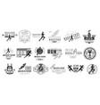 set of monochrome logos for marathon or run vector image