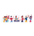 set people dancing at party and dj woman dance vector image