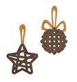 star and ball christmas tree decorations vector image vector image