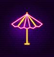 sun parasol neon label vector image vector image