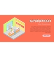 Supermarket Meat Department Banner Flat vector image