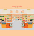 supermarket with fresh food on shelves vector image vector image