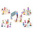 teacher and kids learning isometric kindergarten vector image vector image
