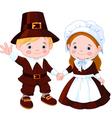 thanksgiving day pilgrim couple vector image vector image