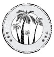 tropical grunge rubber stamp with palm sun space vector image vector image