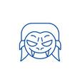 vampire emoji line icon concept vampire emoji vector image vector image
