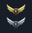 wings shield letter k logo template vector image