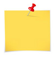 Yellow sticky notes and pin vector image vector image