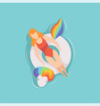young beautiful woman floating on inflatable ring vector image
