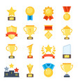 golden cups for winners and others sport trophy vector image