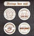 set of vintage hand drawn beer mat with logo on vector image
