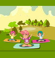 group of women doing yoga in the park vector image