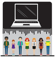 A laptop and a group of people vector image