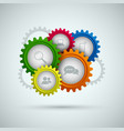 abstract network connection with color gears vector image vector image