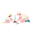 adorable mother and daughter planting seedling or vector image vector image
