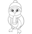 adult coloring bookpage a cute cartoon owl with a vector image
