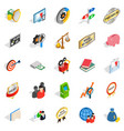 bank icons set isometric style vector image vector image