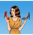 Beautiful Young Woman with Shoes vector image