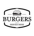 burger vintage stamp vector image vector image