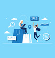 buy on sales concept with cartoon female buyer vector image