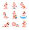 cartoon baby newborn child in diaper eating vector image vector image