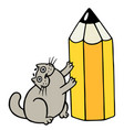 cheerful fat cat loves pencils isolated vector image