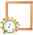 children and clockon note template vector image vector image