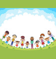 children are jumping on the glade bunner cartoon vector image vector image
