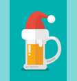 christmas beer ale mug in santa hat vector image vector image