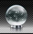 christmas snow globe transparent christmas ball vector image vector image