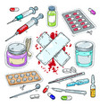 colourful sticker of medical drugs tablets vector image vector image
