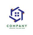 creative real estate logo with hexagon concept vector image vector image