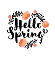 cute hello spring lettering and coral peony flower vector image