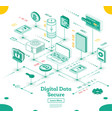 cyber security isometric concept big data and vector image vector image