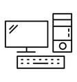 desktop computer thin line icon pc vector image vector image