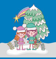 elf with pine tree and branches leaves vector image