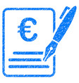 euro contract signature icon grunge watermark vector image