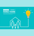 family home concept with creative light bulb idea vector image vector image