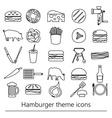 hamburger theme modern simple outline icons set vector image