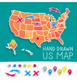 Hand drawn US map vector image