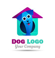 Happy Puppy Abstract Dog Logo Design Template vector image