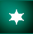 hexagram sheriff icon isolated on green background vector image vector image