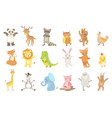 humanized animals set of artistic funny stickers vector image vector image