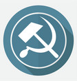 icon sickle hammer on white circle with a long vector image vector image