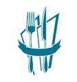 Knife fork and napkin icon in blue vector image vector image