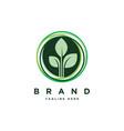 leaf in circle logo design templateorganic vector image