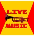 live music trumpet yellow and red vector image vector image