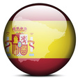 Map on flag button of Kingdom of Spain vector image vector image